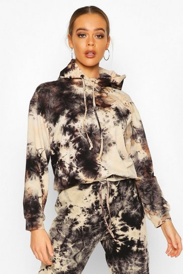 Womens Charcoal Acid Wash Hoodie