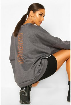 Charcoal Premium Oversized Back Print Sweater