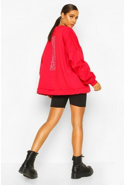 Red Premium Oversized Back Print Sweater