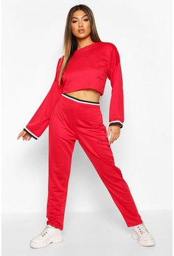 Red Woman Sports Tape Tracksuit Set