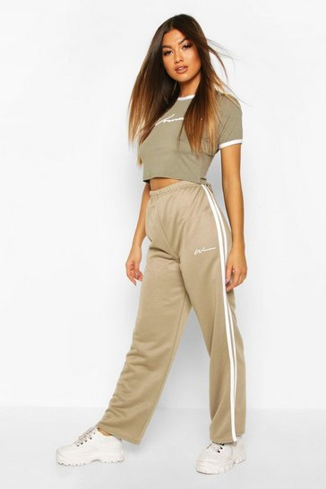 Womens Light khaki Side Stripe Crop Tracksuit Set