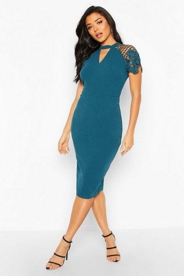 Teal High Neck Flared Sleeve Lace Top Midi Dress