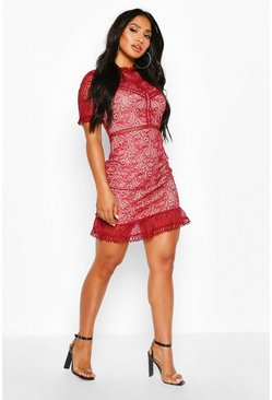 Womens Berry Lace High Neck Short Sleeved Mini Ruffle Dress