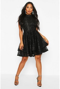 Black Lace High Neck Frill Full Skater Dress