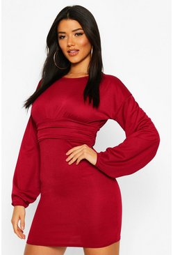 Womens Berry Puff Sleeve Waisted Mini Dress