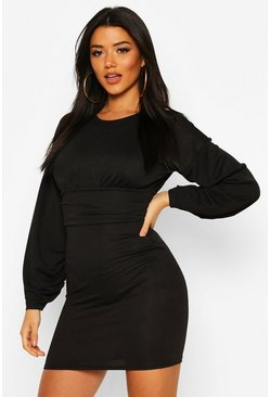 Black Puff Sleeve Waisted Mini Dress