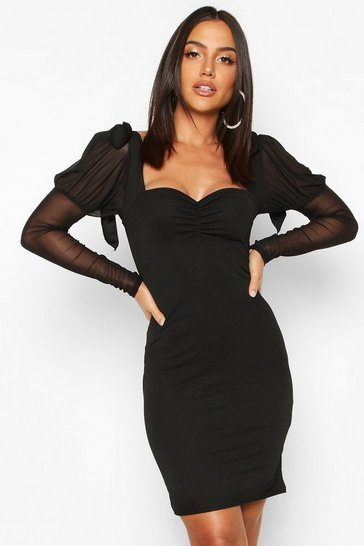 Womens Black Bow Shoulder Mesh Sleeve Bodycon