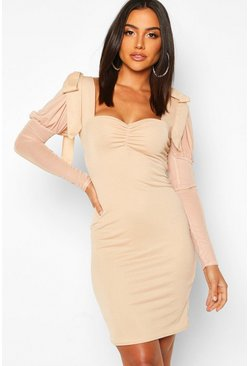 Nude Bow Shoulder Mesh Sleeve Bodycon