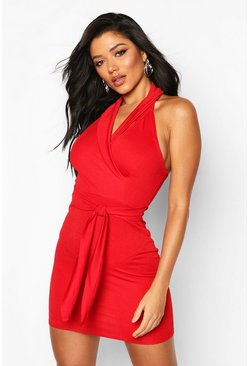 Womens Red Blazer Bodycon Mini Dress