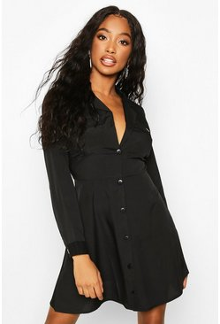Black Pocket Front Skater Shirt Dress