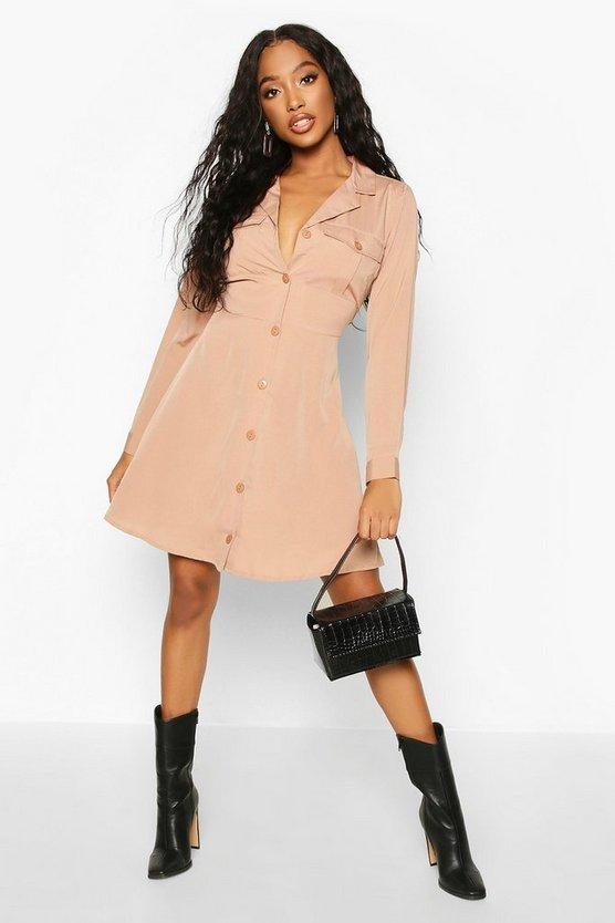 Pocket Front Skater Shirt Dress