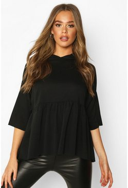 Dam Black Hooded Peplum Sweatshirt