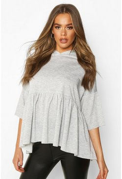 Grey Hooded Peplum Sweatshirt