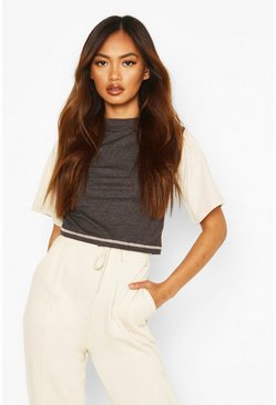 Dark grey Ribbad crop top med blockfärger