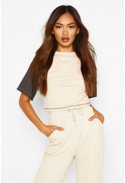 Off white Ribbed Contrast Colour Block Crop Top