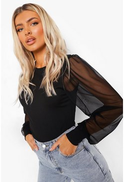Black Ribbed Mesh Sleeve Top