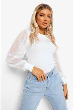 White Ribbed Mesh Sleeve Top