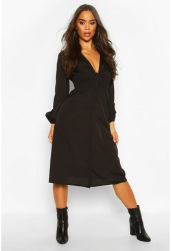 Womens Black Button Through Midi Skater Dress