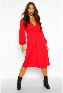 Red Button Through Midi Skater Dress