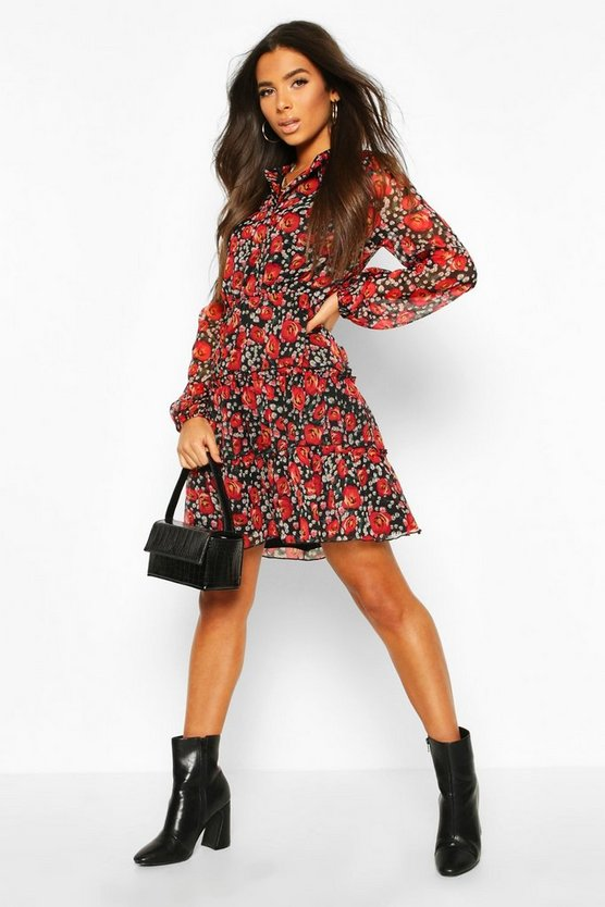 Black Rose Floral Shirt Smock Dress