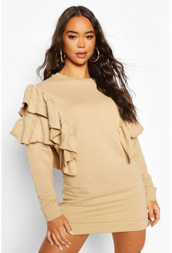 Stone Ruffle Detail Sweat Dress