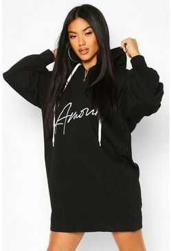 Black Lamore Slogan Hooded Sweat Dress