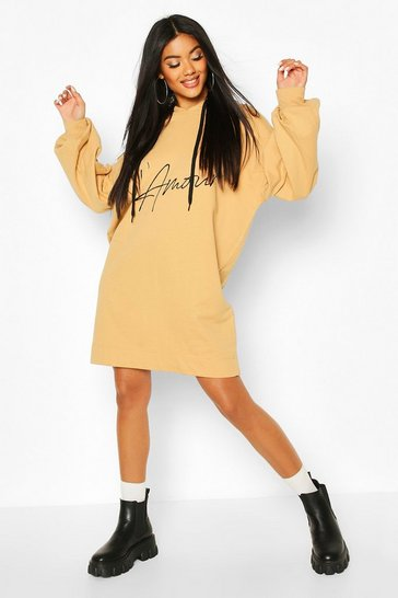 Stone Lamore Slogan Hooded Sweat Dress