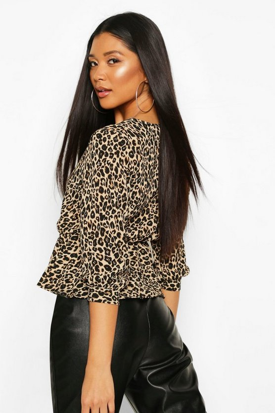 Leopard Print Wrap Peplum Top