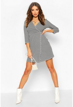 Womens Black Dog Tooth Wrap Mini Dress