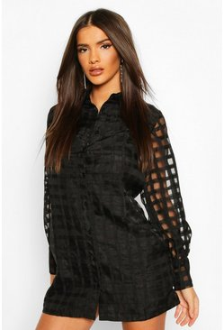 Black Organza Check Shirt Dress