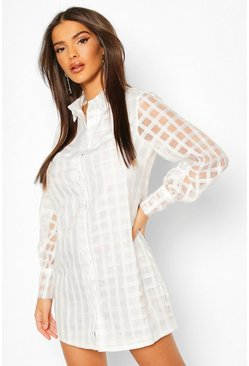 White Organza Check Shirt Dress