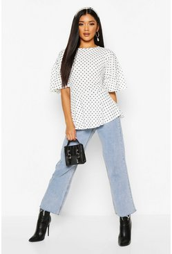 White Polka Dot Ruffle Sleeve Peplum Top