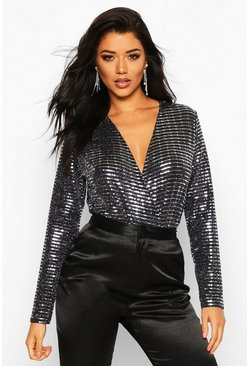 Womens Silver Metallic Sequin Long Sleeve Wrap Bodysuit