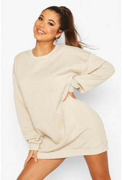 Der grundlegende Mix Match Oversized-Sweatkleid, Sand, Damen