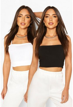 Strappy Basic Vest Two Pack, Blackwhite