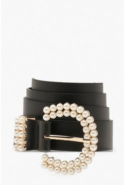 Black Pearl Buckle Detail Belt