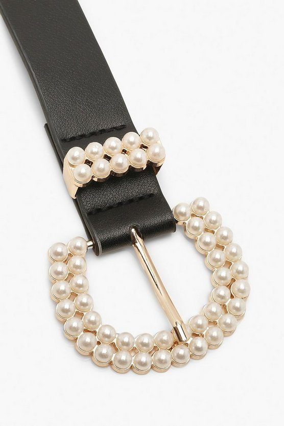 Pearl Buckle Detail Belt