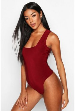 Womens Berry Slinky Square Neck Bodysuit