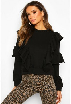 Black Ruffle Detail Long Sleeve Sweat