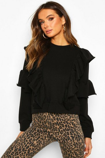 Womens Black Ruffle Detail Long Sleeve Sweat