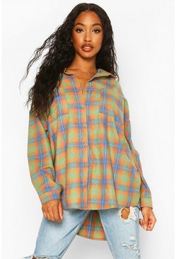 Womens Orange Extreme Oversized Check Shirt With Pockets