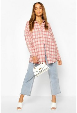 Womens Pink Extreme Oversized Check Shirt With Pockets