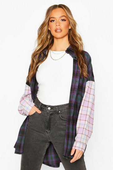 Purple Contrast Check Oversized Shirt With Pockets