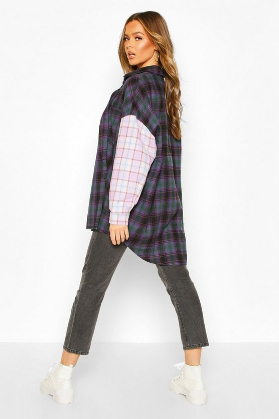 Contrast Check Oversized Shirt With Pockets