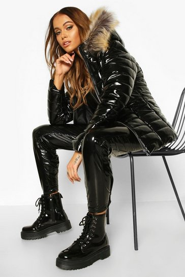 Black High Shine Faux Fur Trim Puffer