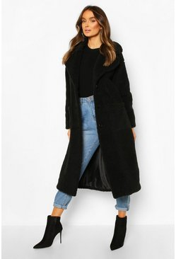 Womens Black Longline Teddy Faux Fur Coat