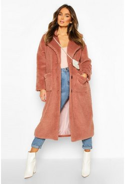 Womens Camel Longline Teddy Faux Fur Coat