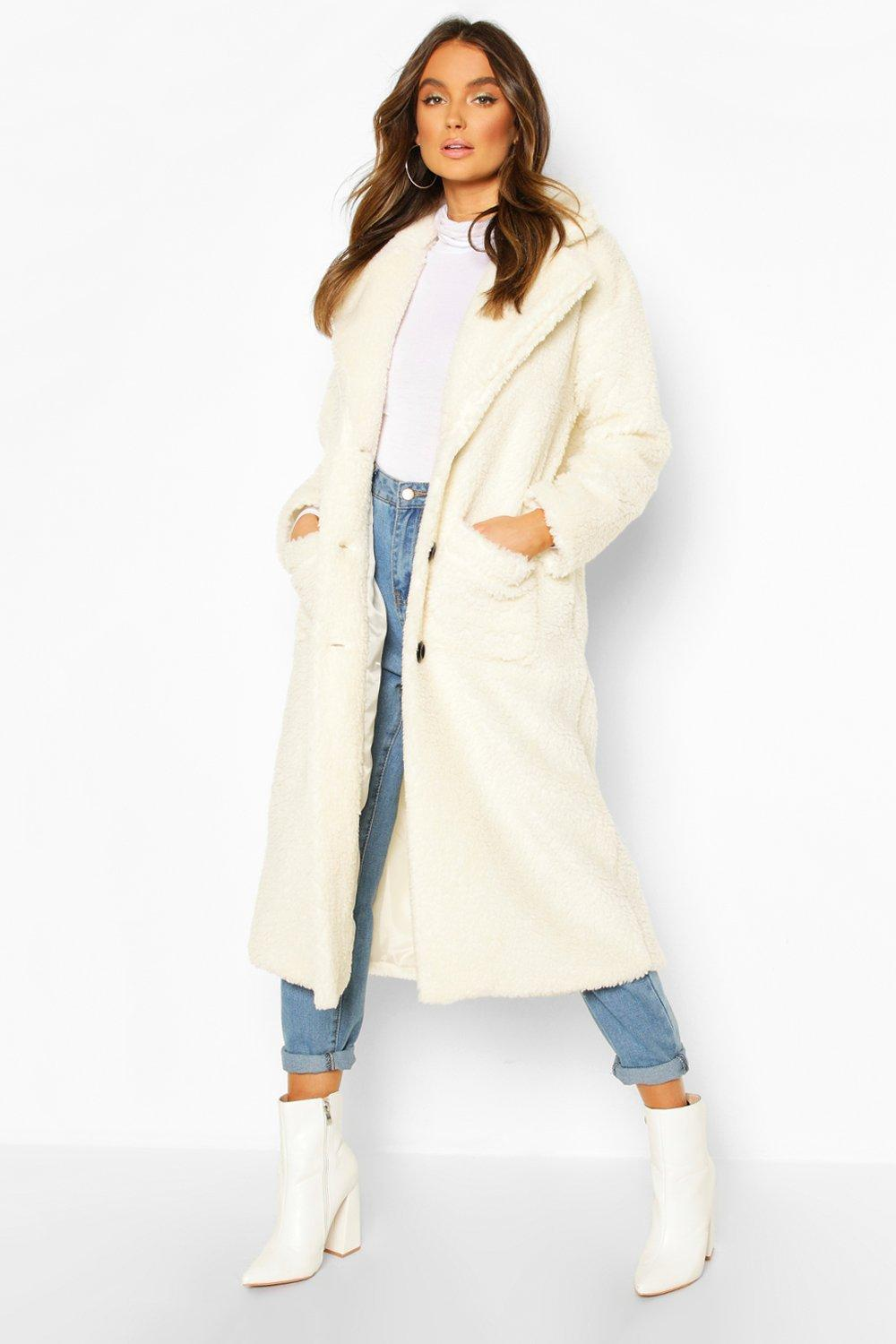 70s Jackets, Furs, Vests, Ponchos Womens Longline Teddy Faux Fur Coat - white - 12 $48.00 AT vintagedancer.com