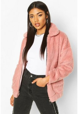 Faux Fur Teddy Trucker Jacket, Blush, FEMMES