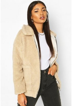 Faux Fur Teddy Trucker Jacket, Stone, DAMEN